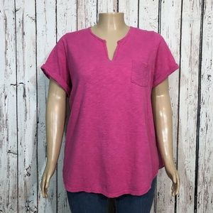 Woman Within Pink Split Neck Shirt Top T-shirt